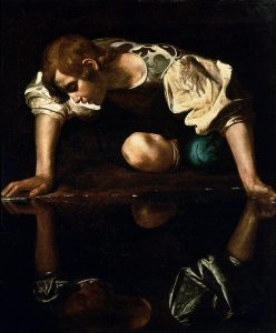 Narcissus looks at his reflection
